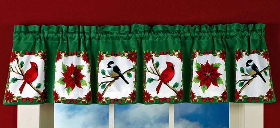 Window Curtain Valance Cardinal Poinsettia Design