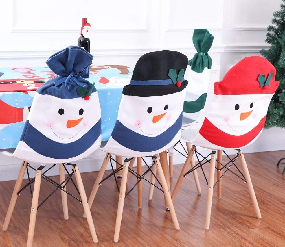 Snowman Chair Back Covers for Christmas Dinner Decor