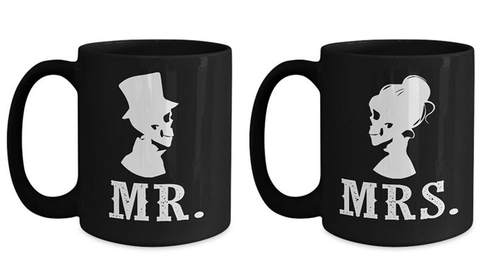 Black His and Hers Halloween Coffee Mugs