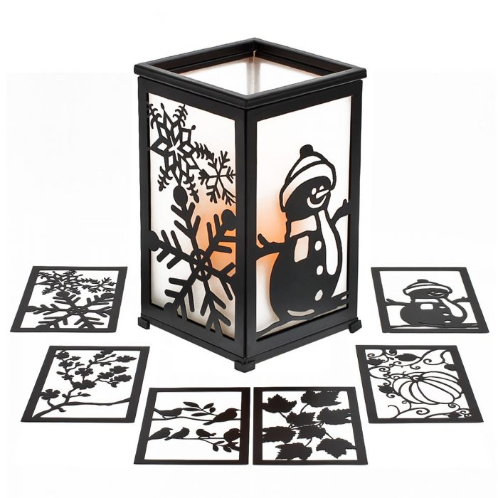 Black Hurricane Lantern Christmas Candle