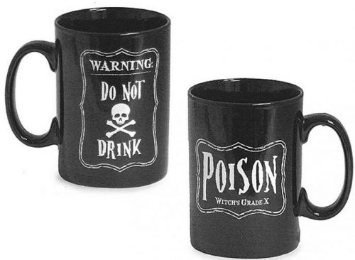 Black Skeleton and Poison Message Halloween Coffee Mugs