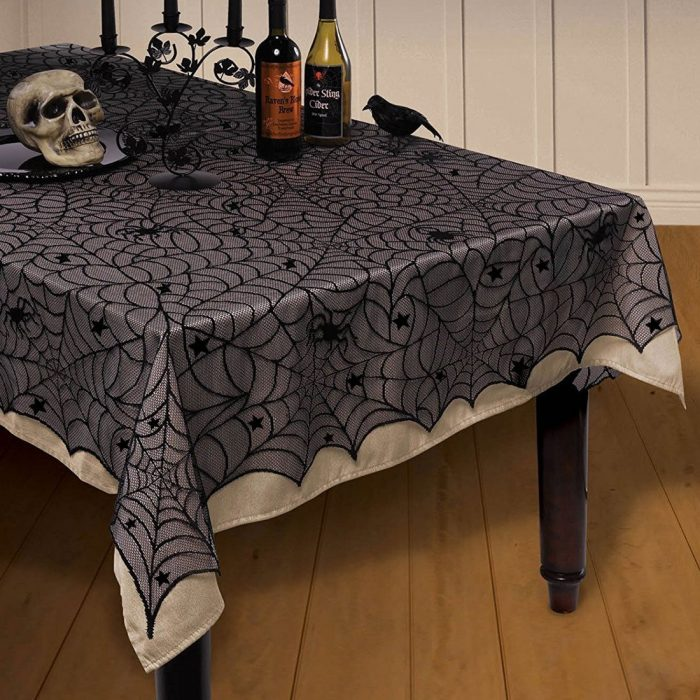 Black Spider Web Tablecloth Halloween Party Decor