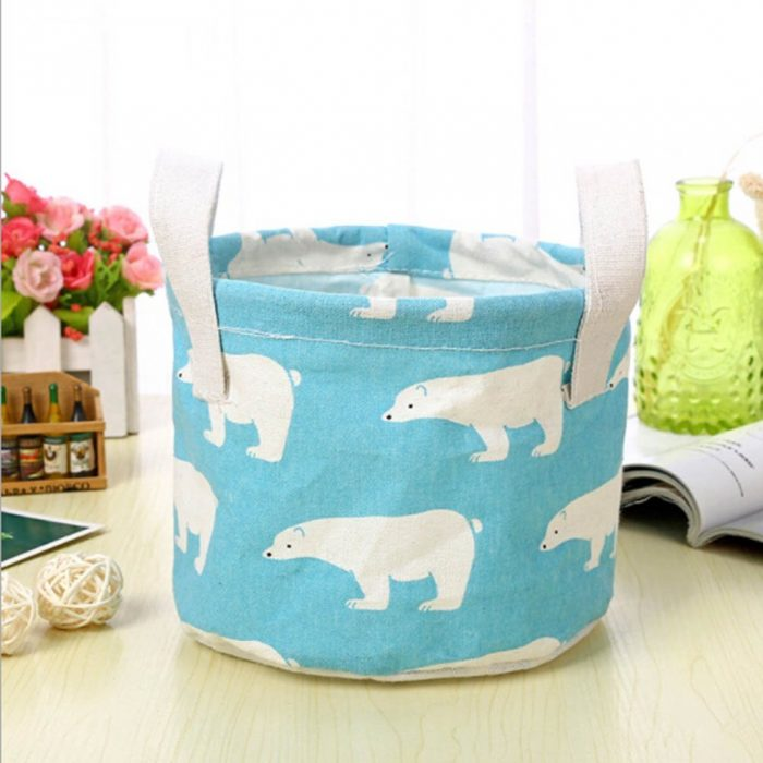 Blue Bear Pattern Laundry Hamper