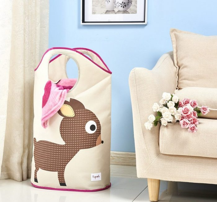 Brown Deer Pattern Laundry Hamper