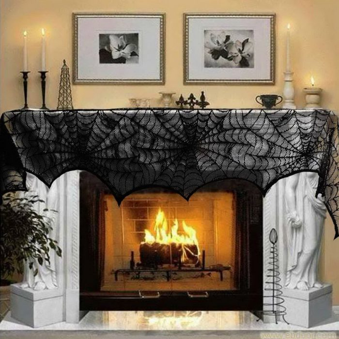 Cobweb Fireplace Scarf Halloween Party Decor