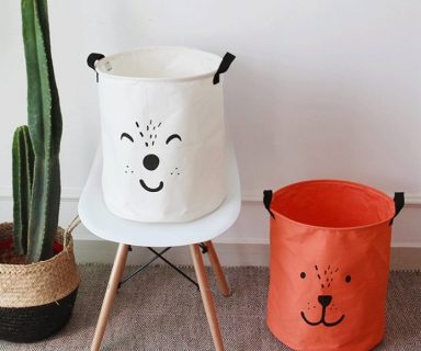 Cute Red and White Cartoon Expression Laundry Hamper