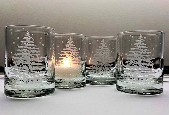 Deep Engraved Glass Christmas Candles
