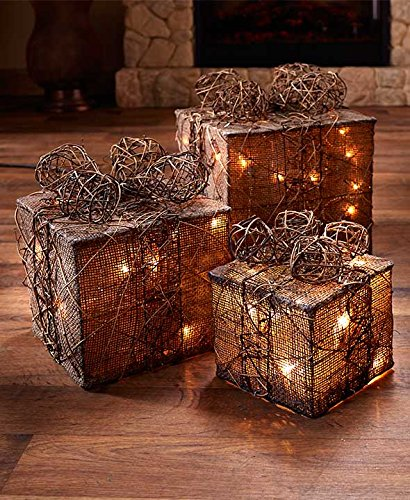 Dramatic Lighted Gift Box Christmas Candles