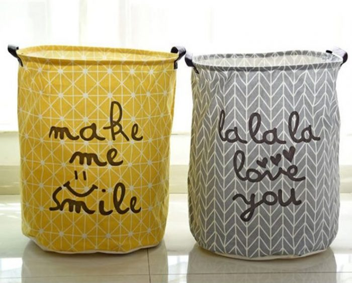 Friendly Yellow and Gray Laundry Hampers