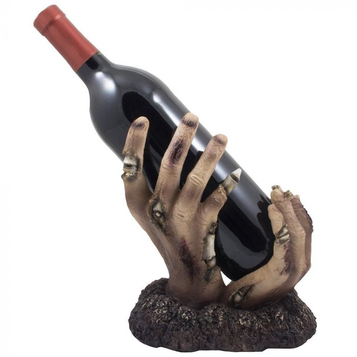 Frightful Zombie Rises Up Wine Bottle Halloween Party Decor