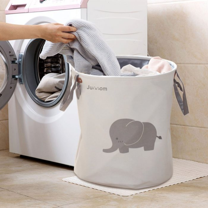 Gray Elephant Pattern Laundry Hamper