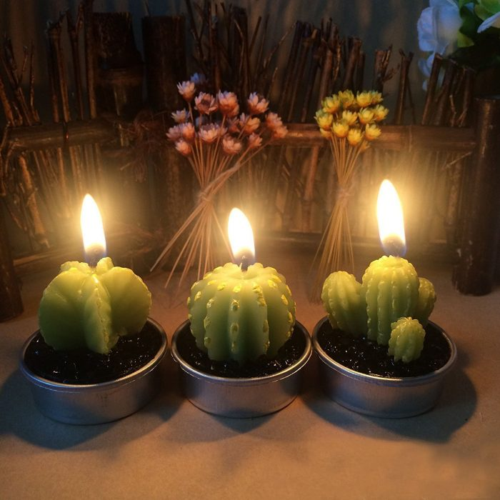 Green Cactus Shape Christmas Candles