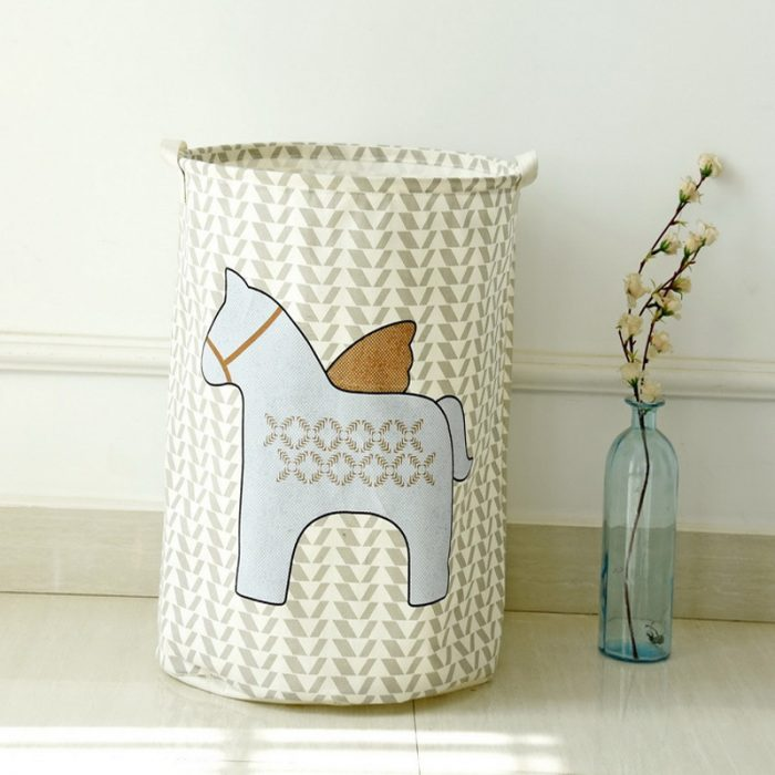 Horse Pattern Cotton Laundry Hamper