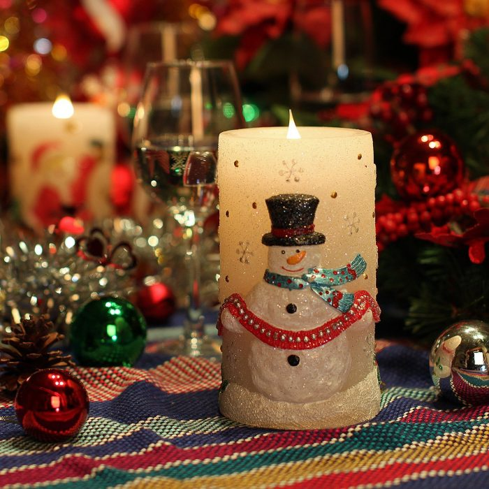 Moving Snowman Christmas Candle
