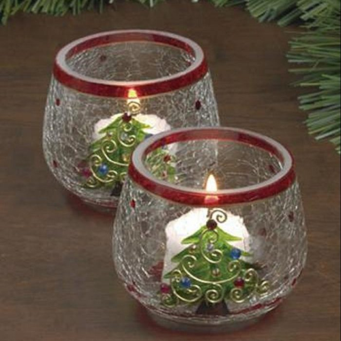 Nostalgic Crackle Glass Christmas Candles