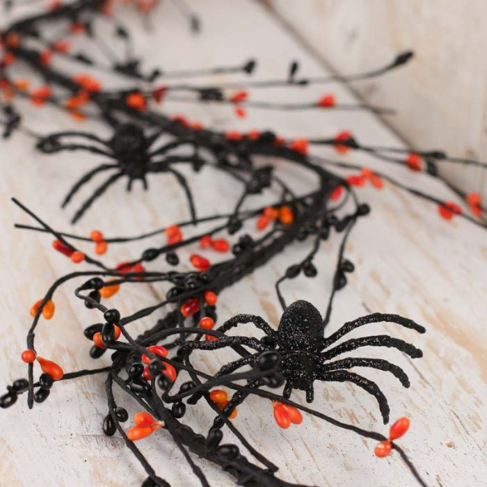 Orange and Black Sparkling Garland Halloween Party Decor