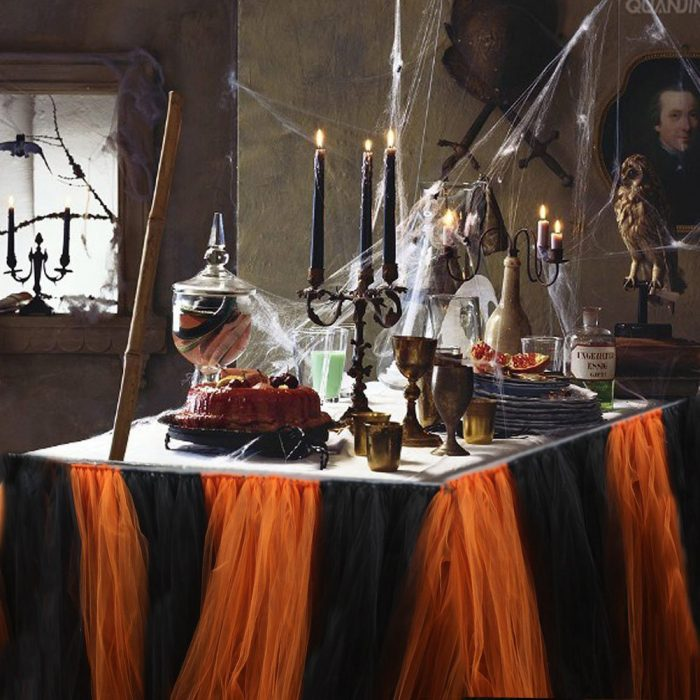 Orange and Black Tulle Tablecloth Halloween Party Decor