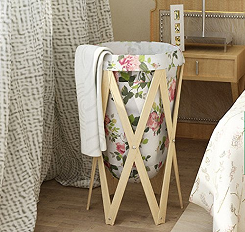 Peony Tree Pattern Wooden Laundry Hamper