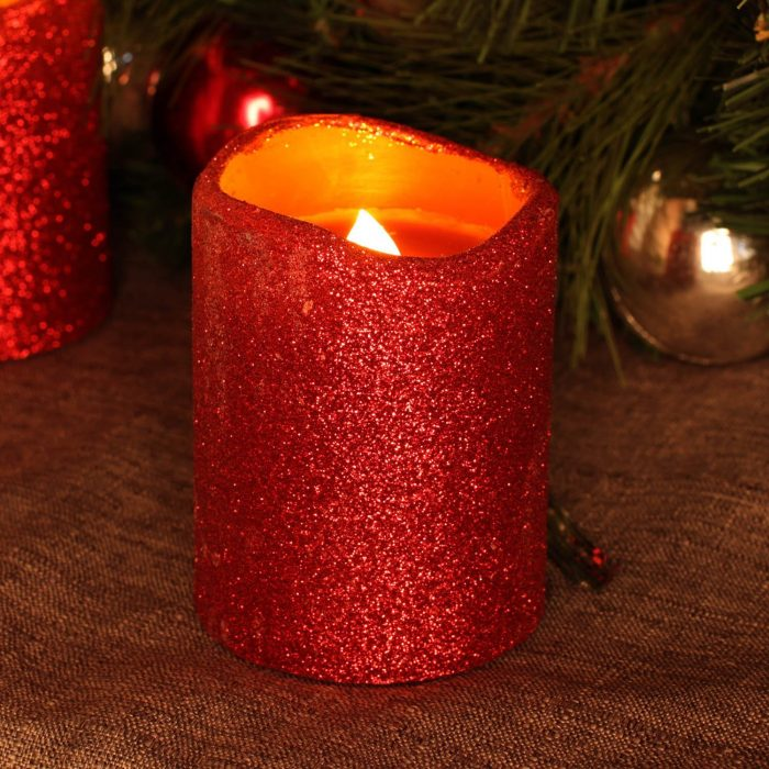 Red Glitter Christmas Candle