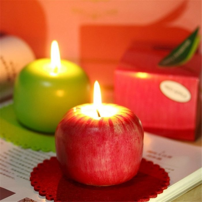 Red and Green Apple Shaped Christmas Candles