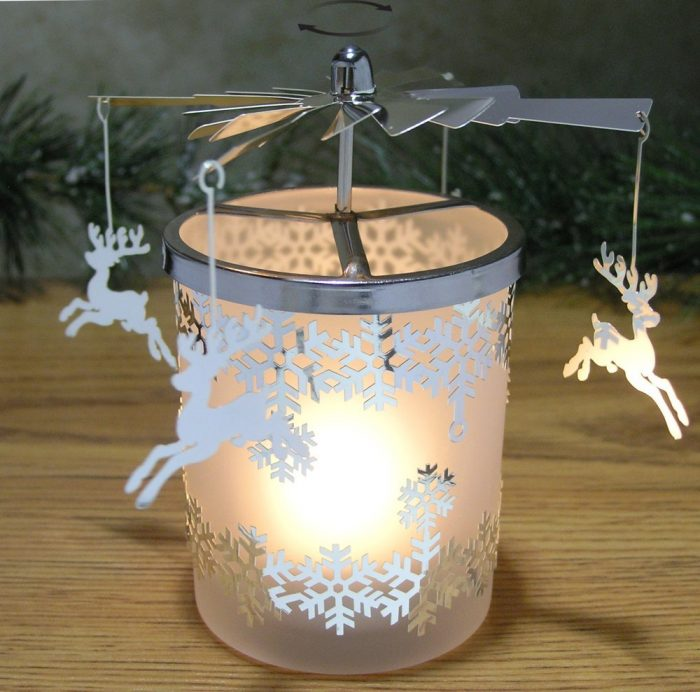 Reindeer Charms with Snowflake Design Candle