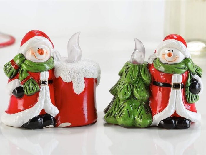 Snowman with Santa Suit Design Christmas Candle