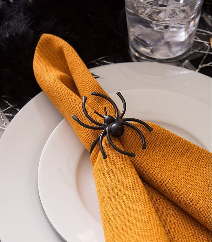Spider Pattern Napkin Rings Halloween Party Decor