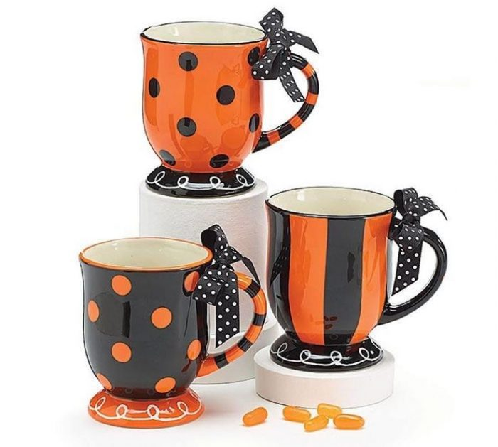 Stripes and Polka Dots Design Halloween Coffee Mugs