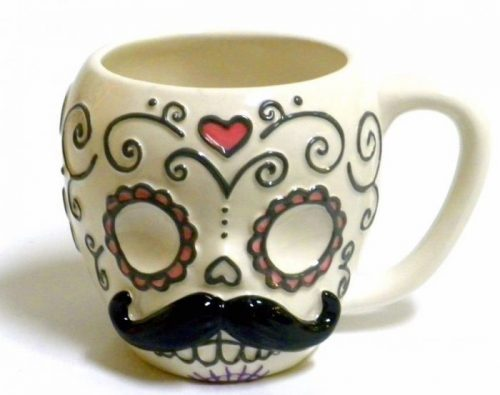 Sugar Skull with Mustache Halloween Coffee Mug