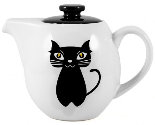 Black Teaz Cat Painted Teapot