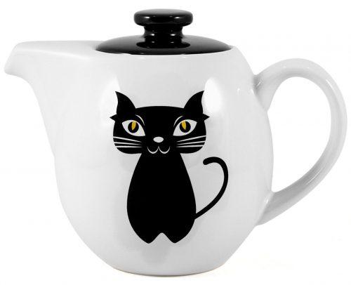 Black Teaz Cat Painted Teapot