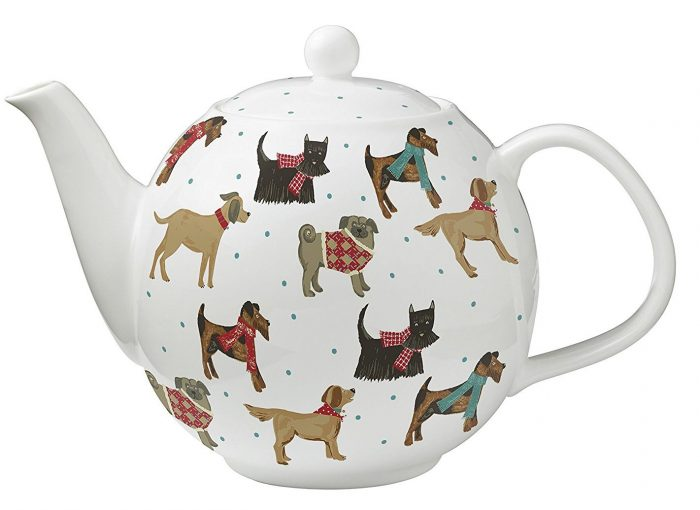 Colorful Hound Dog Bone China Teapot