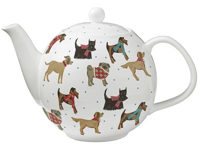 Colorful Hound Dog Bone China Teapot