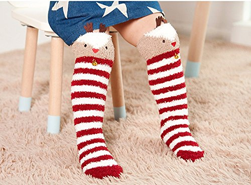 Cute Bell Stripe Elk Design Christmas Socks