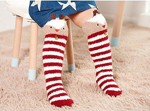 Cute Bell Stripe Elk Design Christmas Socks