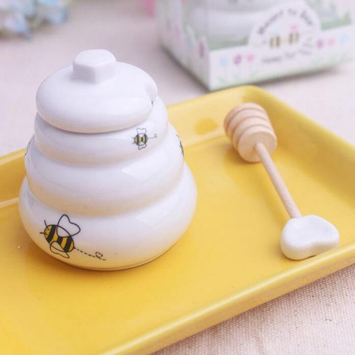 Glorious Bee Ceramic Honey Pot