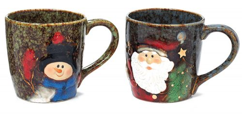 Green and Brown Marbleized Christmas Mugs