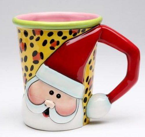 Lovely Leopard Print Santa Christmas Mug