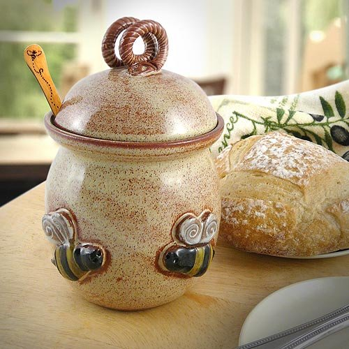 Natural Stoneware Honey Pot