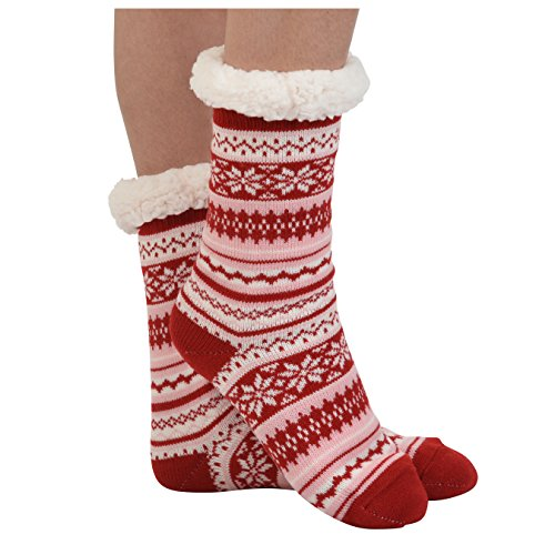 Red Festive Winter Fleece Christmas Socks