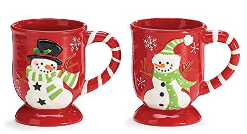 Red Snowflake Design Christmas Mugs