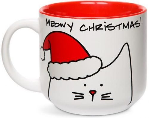 Red and White Blobby Cat Meowy Christmas Mug