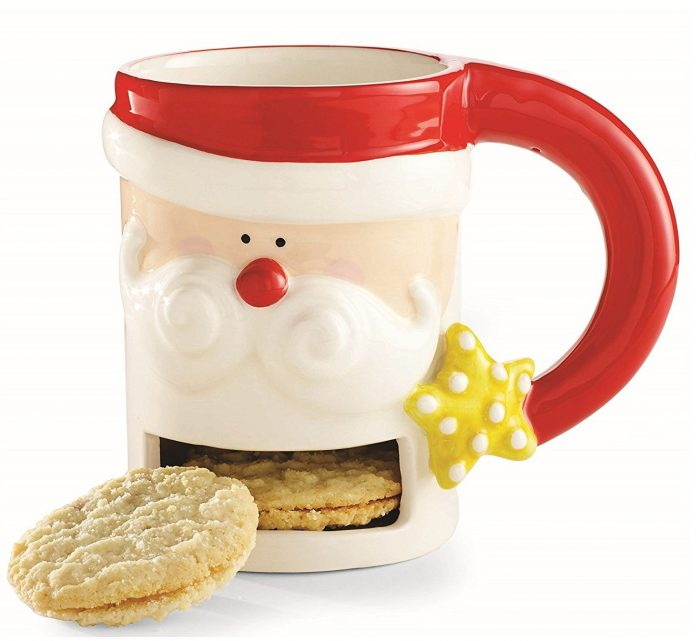Red and White Santa and Co. Santa Cookie Holder Mug