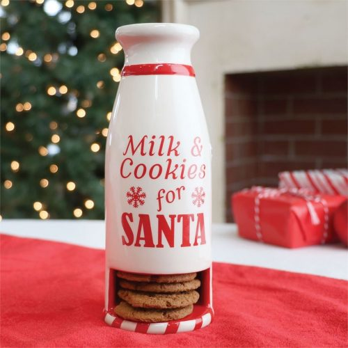 Santa Cookies and Milk Bottle