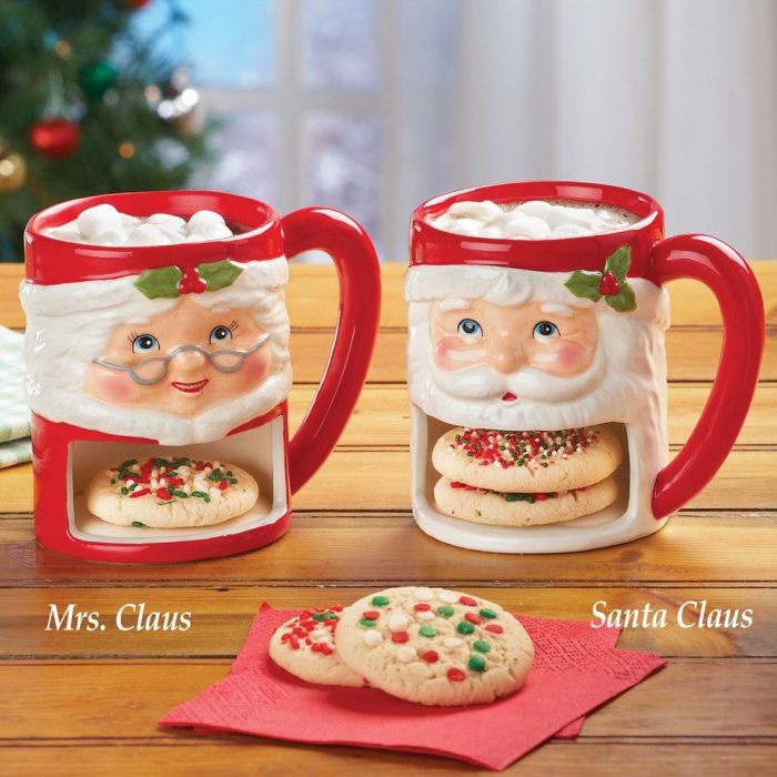 Santa and Mrs. Claus Christmas Cookie Mugs
