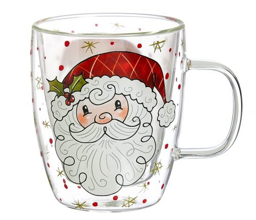 Simple Santa Glass Christmas Mug
