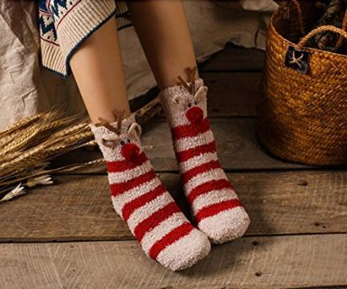Soft Fuzzy Sleeping Christmas Socks