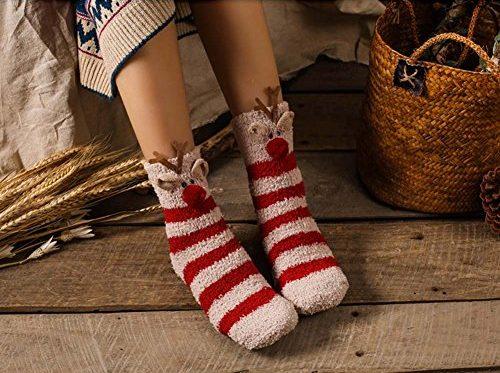 Soft Fuzzy Sleeping Christmas Socks