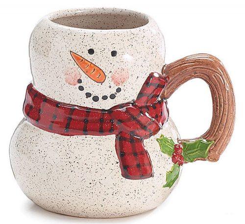 Twig Handled Snowman Christmas Mug