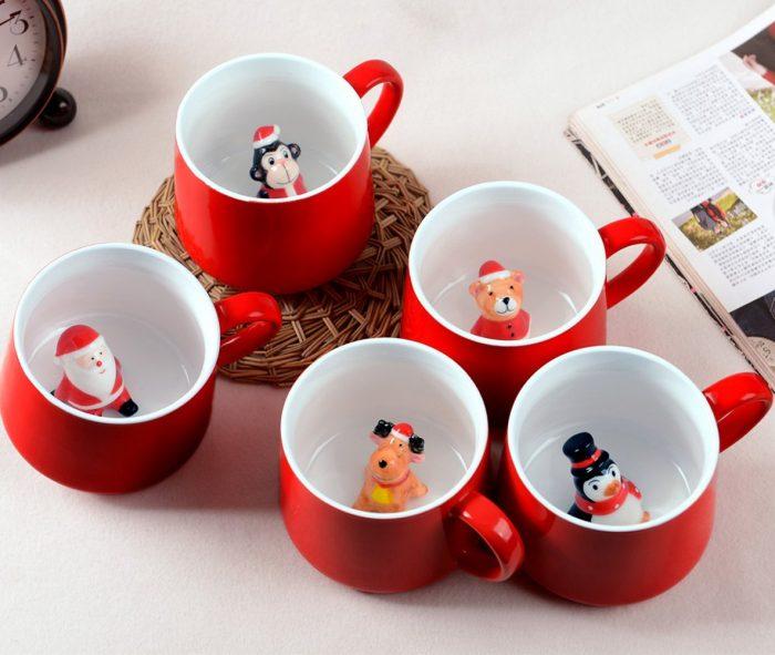 Whimsical Cartoon Miniature Christmas Mugs